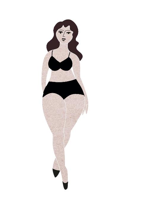 """Die passenden Shorts für den Sommer finden. A-Form: Grafik """"Anabelle"""" – Figur oben schmal, unten breiter."""