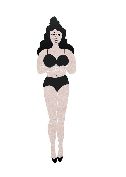 """Die passenden Shorts für den Sommer finden. V-Form: Grafik """"Victoria"""" –oben breiter, unten schmal."""