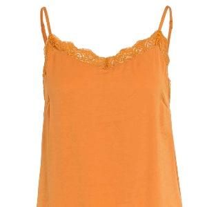 Vila – Top mit Spitzenbesatz orange
