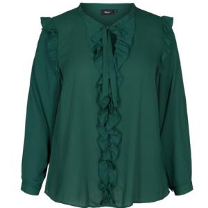 Zizzi - Langarm Bluse mit Rüschen