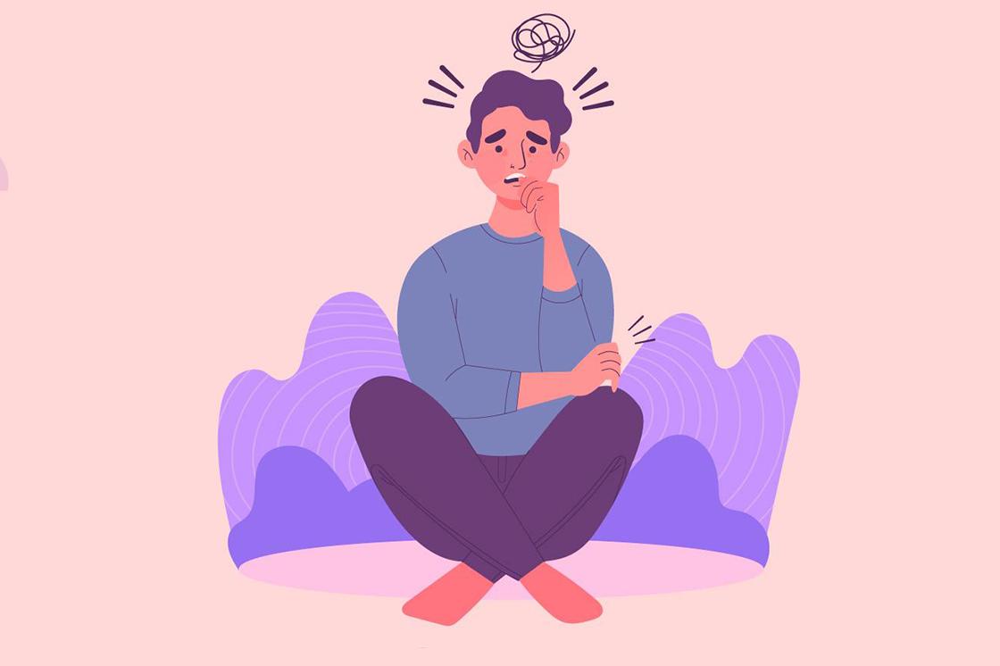 Illustration eines Mannes, der sich auf den Daumen beißt. Ihn plagen schlimme Gedanken.