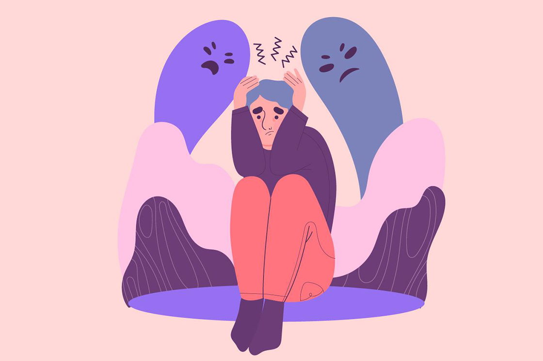 Illustration einer Frau, die die Hände über dem Kopf verschlägt. Von hinten bedrohen sie zwei dunkle Schatten.