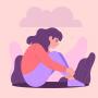 Illustration einer Frau, die auf dem Boden sitzt, über ihr ist eine Gewitterwolke